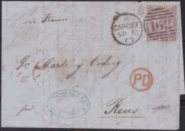 Great Britain  . Yvert  .   29  On Letter  (2 Scans)      .  O  .   Cancelled      .   /  .   Gebruikt - 1840-1901 (Victoria)