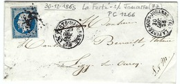 FRANCE 1854: LAC De La Ferté-sous-Jouarre ((S&M) Du 29.XII.65 Pour Lizy-sur-Ourcq Avec Le Y&T 14B  Obl. PC 1266 (Ind.3) - 1853-1860 Napoleone III