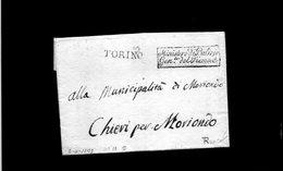 CG17 - Lett. Da Torino X Chieri-Moriondo 2/4/1800  - Bollo Riquadro Nero Del Ministro Di Polizia Gen. Del Piemonte - ...-1850 Voorfilatelie