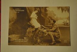 Militaria En Permission Scene Erotique Femme En Petite Tenue Porte Jarretelles Soldat Amoureux Guerre 14 18 - Naakt-Volwassenen (< 1960)
