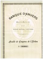 Titre Ancien - Banque D'Anvers - Société Anonyme  - Feuille De Coupons - Déco - Banque & Assurance