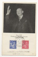 CONGRES DE VERSAILLE PRESIDENT RENE COTY 1953 - Cartoline Maximum
