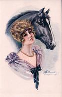 Cherubini M. Illustrateur, Jeune Femme Et Cheval (931) - Altre Illustrazioni