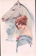 Cherubini M. Illustrateur, Jeune Femme Et Cheval (933) - Altre Illustrazioni