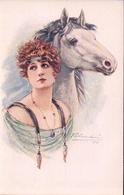 Cherubini M. Illustrateur, Jeune Femme Et Cheval (932) - Altre Illustrazioni