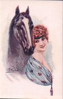 Cherubini M. Illustrateur, Jeune Femme Et Cheval (937) - Altre Illustrazioni
