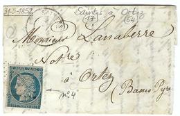 FRANCE 1850: Petite LAC De Saintes à Ortez Du 31.V.52 Avec Le Y&T4 Et Obl. PC2776 (Ind.2) - 1849-1850 Cérès