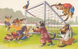 Cats Play Soccer, Camera, Minouvis Artist Image, C1950s Vintage Swiss Postcard - Football