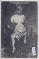 MILITARIA- ILLUSTRATION- BELGICA- LA BELGIQUE BAILLONNEE- ATTACHEE- SOUILLEE- SIGNATURE PEU LISIBLE - War 1914-18