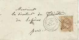 1869- Lettre De PARIS / GROS-CAILLOU    Affr. N°28 Oblit. étoile N°27 - 1849-1876: Periodo Clásico