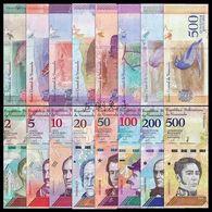 Venezuela SET 8 NOTE : 2+5+10+20+50+100+200+500 Bolivares UNC BANKNOTE WÄHRUNG - Venezuela