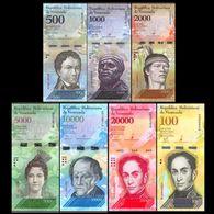 Venezuela SET 7 BANKNOTES: 100+500+1000+2000+5000+10000+20000 Bolivares UNC BANKNOTE WÄHRUNG - Venezuela