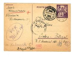 GG 1942 Ganzsache Poln. Rotes Kreuz Warschau-Lissabon, Portogerecht, Deckadresse - Occupation 1938-45