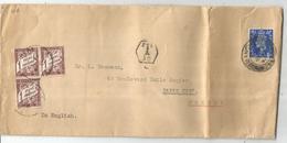 TAXE 1FR BLOC DE 3 PARIS 1940 LETTRE ENGLAND 2 1/2D - Poststempel (Briefe)