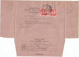 GANDON 15FR ROUGE PAIRE AVIS DE RECEPTION APRES LE DEPOT MERICOURT PAS DE CALAIS 7.2.1950 AU TARIF RARE - 1945-54 Marianne De Gandon