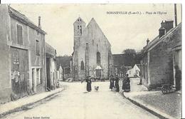 BOIGNEVILLE  PLACE DE L EGLISE PERSONNAGES   HOMME ET BROUETTE Pli Coin  DEPT 91 - France