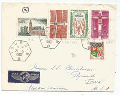 INDRE ET LOIRE DIVERS LETTRE AVION C. HEX TOURS BB 21.5.1962 POUR USA - Bolli Manuali