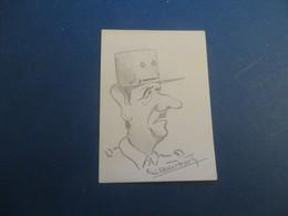 Dessin Sur Une Carte De Visite ,ont Dirait ,le General De Gaulle - Drawings