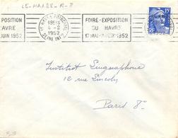 LE HAVRE PRINCIPAL SEINE INFre OMec RBV 4-2-1952 FOIRE-EXPOSITION / DU HAVRE / 17 MAI-2 JUIN 1952 - Oblitérations Mécaniques (flammes)