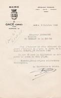 GACE LETTRE ENTETE DE LA MAIRIE ANNEE 1948 - Non Classés