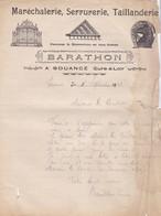 SOUANCE AU PERCHE BARATHON MARECHALERIE SERRURERIE TAILLANDERIE FERRURES ANNEE 1922 LETTRE A MME LA COMTESSE DE SOUANCE - Francia