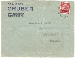 214 - STRASSBURG KOENIGSHOFEN - 1940 - Entête BRAUEREI GRUBER - Bière - - Postmark Collection (Covers)