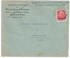 216 - STRASSBURG ELS 2 - 1940 - Entête Groupement  Corporatif Des BRASSEURS D'ALSACE - Bière - - Marcofilia (sobres)