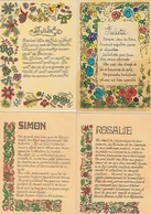 20 / 3 / 37. -  4. CPM  PRÉNOMS. :  SIMON, JULIETTE ,JULIEN  ET  ROSALIE - Firstnames
