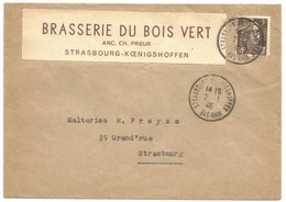218 - STRASSBURG KOENIGSHOFEN - 1946 - Entête BRASSERIE DU BOIS VERT - Bière - - Postmark Collection (Covers)