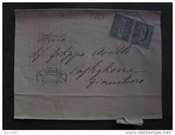 """2748 ITALIA Regno-1866- """"T 14 Cifra"""" C. 1 Coppia CAMERINO>CASTIGLIONFIORENTINO (descrizione) - Storia Postale"""