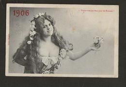 """Femme Chica Frau Lady Girl / Jolie Fantaisie / Edition .Bergeret IRN """" Voulez-vous Ma Fleur Pour Vos Etrennes 1906 """" - Women"""