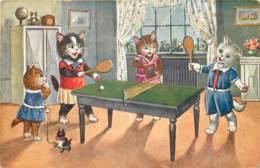 Fantaisie - Chats - Une Belle Partie De Ping-Pong - Animaux Habillés