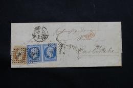 FRANCE - Lettre De Strasbourg Pour L 'Allemagne , Affranchissement Napoléon 20ct X 2 + 10ct , PC 2950 - L 54504 - Marcophilie (Lettres)