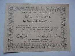 VIEUX PAPIERS - INVITATION AU BAL ANNUEL : LOUVECIENNES - Offert Par L'Union Fraternelle Des Garçons Jardiniers - Faire-part