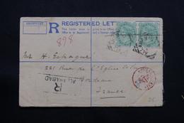 INDE - Entier Postal + Compléments ( Paire Victoria ) En Recommandé De Allahabad Pour La France En 1896 - L 54507 - India (...-1947)