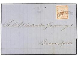 ARGENTINA. Sc.1. 1858. CORRIENTES A BUENOS AIRES. 5 Cts. Rojo, Mat. Cóncavo CORRIENTES En Negro. Preciosa Y Rara Cancela - Zonder Classificatie