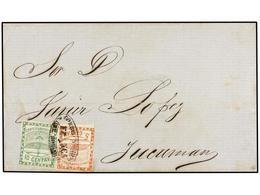 ARGENTINA. Sc.1, 2. (1859 CA.). ROSARIO A TUCUMAN. 5 Cts. Rojo Y 10 Cts. Verde, Mat. Ovalado CORREOS NACIONALES/FRANCA/D - Zonder Classificatie