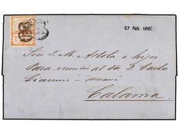 ARGENTINA. Sc.1. 1861. SALTA A CALAMA (Bolivia) Para Remitir A ATACAMA. 5 Cts. Rojo, Mat. FRANCA/SALTA. Al Dorso Marca D - Zonder Classificatie