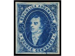 (*) ARGENTINA. Sc.16. 1867. 15 Ctvos. Azul Sin Filigrana. Color Y Márgenes Excepcionales. MUY RARO. Firma Kneitchel. Sco - Zonder Classificatie