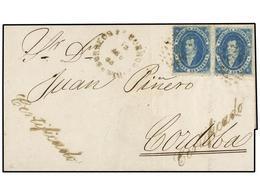 ARGENTINA. Sc.13. 1865. BUENOS AIRES A CÓRDOBA. 15 Cts. Azul (2), Mat. óvalo De Puntos Y Fechador CORREOS/BUENOS AIRES D - Zonder Classificatie
