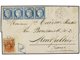 ARGENTINA. 1876 (10 Julio). BUENOS AYRES A FRANCIA. Circulada Con Sello De 50 Cts. Rojo Y Cuatro Sellos Franceses De 25  - Zonder Classificatie