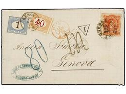 ARGENTINA. Sc.20. 1879. BUENOS AIRES A GÉNOVA. 5 Cts. Naranja, Tasada A La Llegada Con 80 Cts. Y 1,40 Liras Pagados Con  - Zonder Classificatie