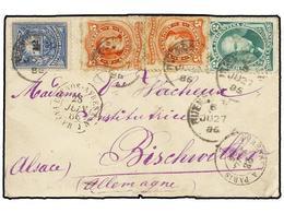 ARGENTINA. 1886. BUENOS AIRES A ALEMANIA. 2 Cts. Verde, 5 Cts. Rojo (2) Y 12 Cts. Azul Fechador Octogonal Marítimo Franc - Zonder Classificatie