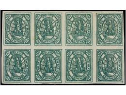 **/* BOLIVIA. Sc.8. 1867. 100 Ctvos. Verde. Bloque De Ocho, Color Muy Fresco Conservando Toda Su Goma Original. Muy Raro - Zonder Classificatie