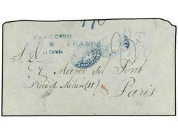 BOLIVIA. 1877. LA CHIMBA (Bolivia) To FRANCE. CORREOS DE LA CHIMBA/BOLIVIA Negative Blue Ship Illustrated Handstamp, Dep - Zonder Classificatie