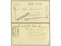 BOLIVIA. 1883 (22 Enero). TUPISA A SALTA (Argentina). Sobre Certificado Con Cuatro Marcas CERTIFICADO Lineal En Color Ve - Zonder Classificatie
