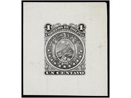 BOLIVIA. Sc.28. 1890. PRUEBA DE PUNZÓN. 1 Cto. Negro Sobre Cartulina. Posiblemente Para La Emisión Del Entero Postal. RA - Zonder Classificatie