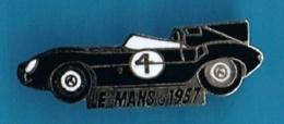 PIN'S //  ** LE MANS / 1957 / JAGUAR TYPE D /  N° 4 / PILOTES Ron FLOCKHART & Ivor BUEB ** - Jaguar