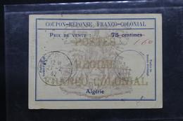 ALGÉRIE - Coupon Réponse De Pointe Pescade En 1942 - L 54521 - Storia Postale