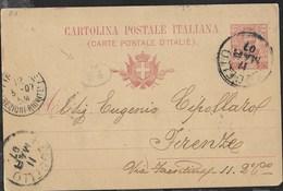 STORIA POSTALE REGNO - INTERO POSTALE VITTORIO EMANUELE CENT 10 DA REGGELLO 11.MAR.1907- TIMBRINO PORTALETTERE - Ganzsachen